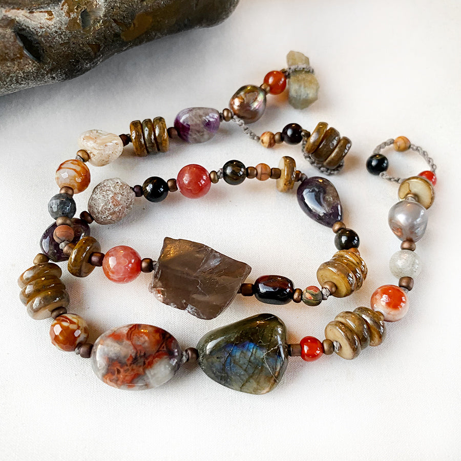 Crystal energy double wrap bracelet in brown earthy tones ~ for up to 6.75