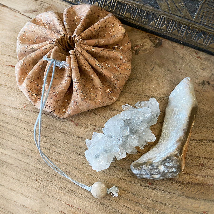 Apophyllite & Flint crystal energy travel set ~ in cork pouch