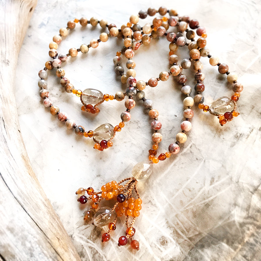 Crazy Lace Agate meditation mala
