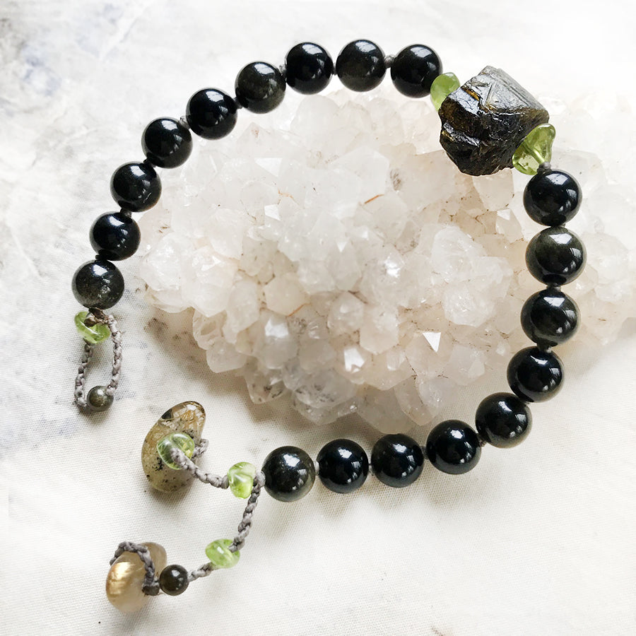 Mala bracelet with Golden Sheen Obsidian, Verdelite, Peridot & Gold Rutile Quartz