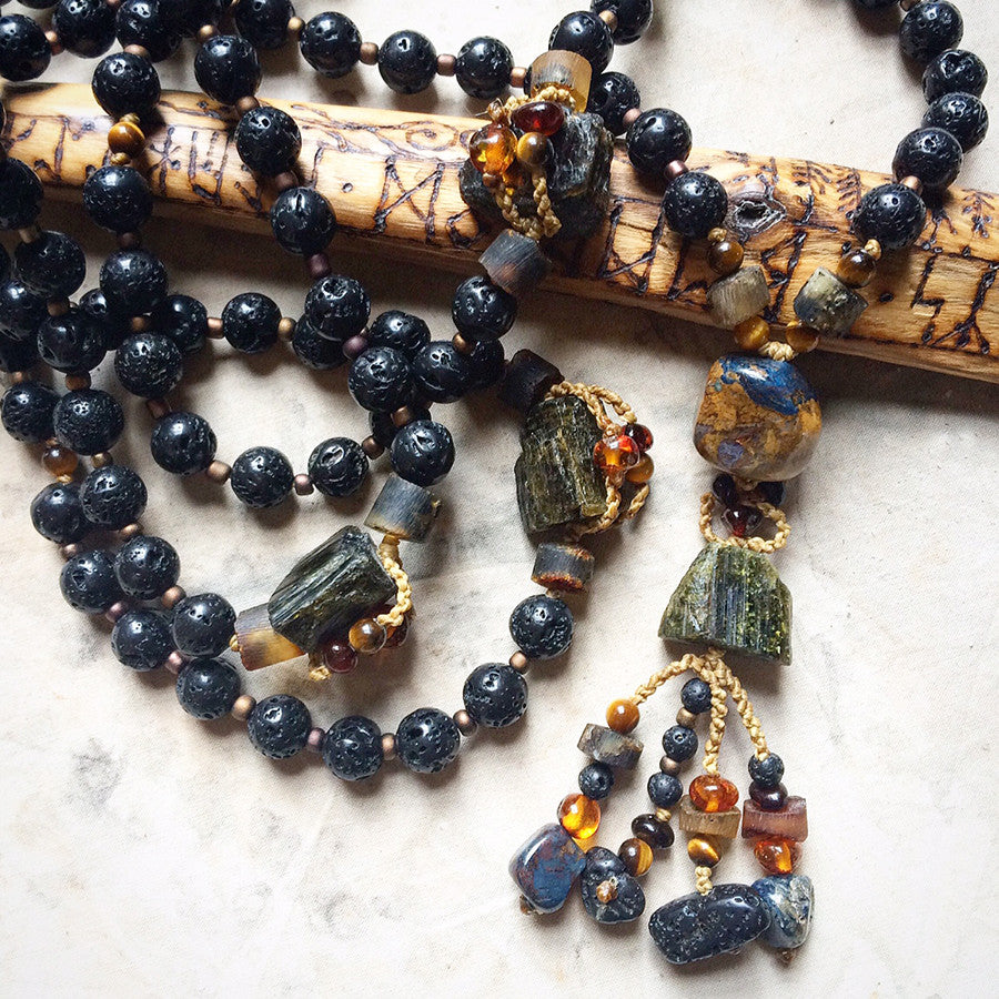 Lava Stone mala with Verdelite, Pietersite, Amber & Tiger Eye