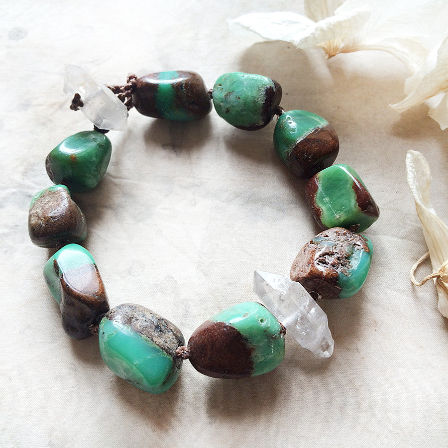 "Crystal healing bracelet with Chrysoprase & Sichuan Quartz ~ for up to 7.5"" wrist"