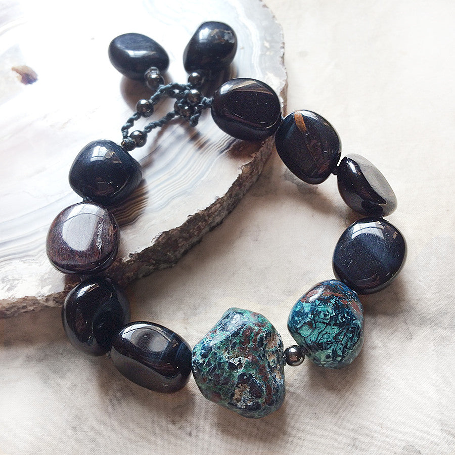 "Crystal healing bracelet with Hawk Eye, Shattukite & Hematite ~ for up to 6.5"" wrist"