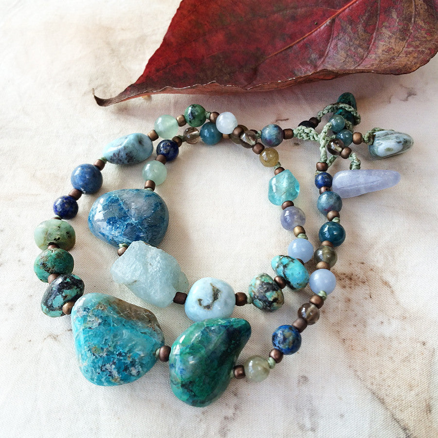 Crystal healing double wrap bracelet in blue & green tones ~ for up to 6.5