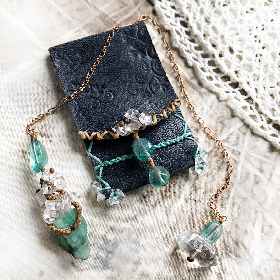 Unique crystal pendulum with decorative carry case ~ Emerald
