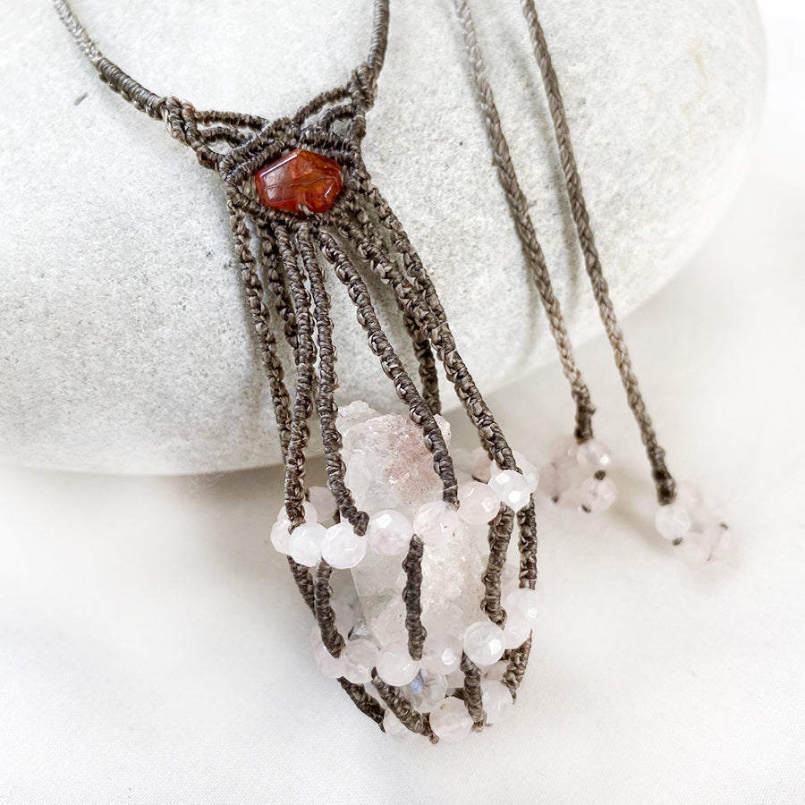 Crystal pod necklace with Apophyllite