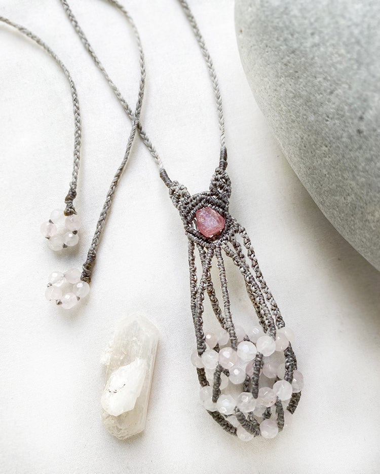 Small crystal pod necklace with Stilbite