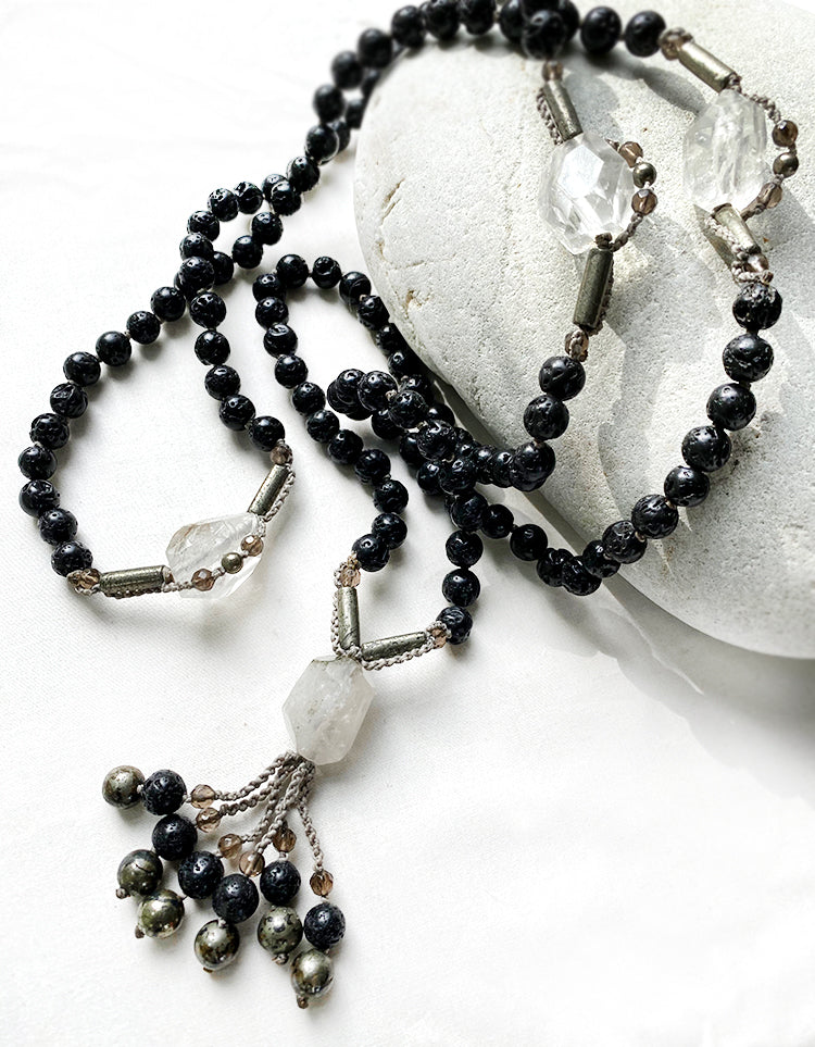 Lava Stone mala with clear Quartz, Pyrite & Smokey Quartz