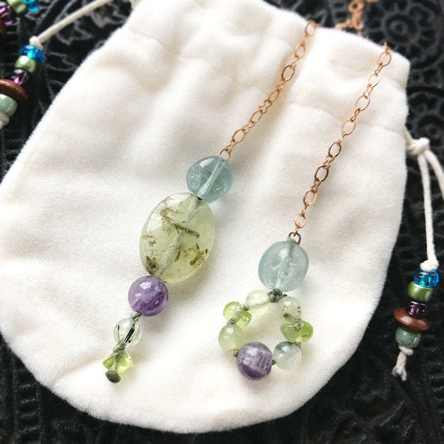 One-of-a-kind crystal pendulum ~ with Prehnite