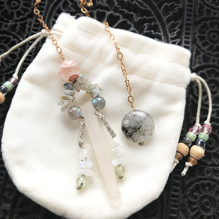 One-of-a-kind crystal pendulum ~ with Milky Quartz point