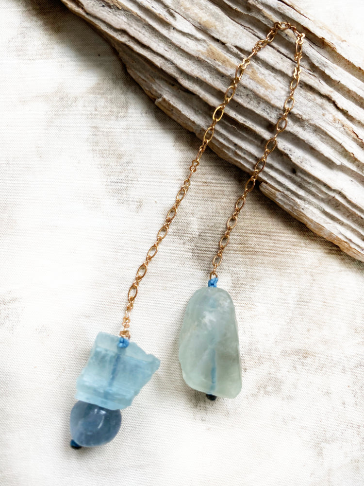 Crystal pendulum for dowsing ~ with Fluorite & Aquamarine