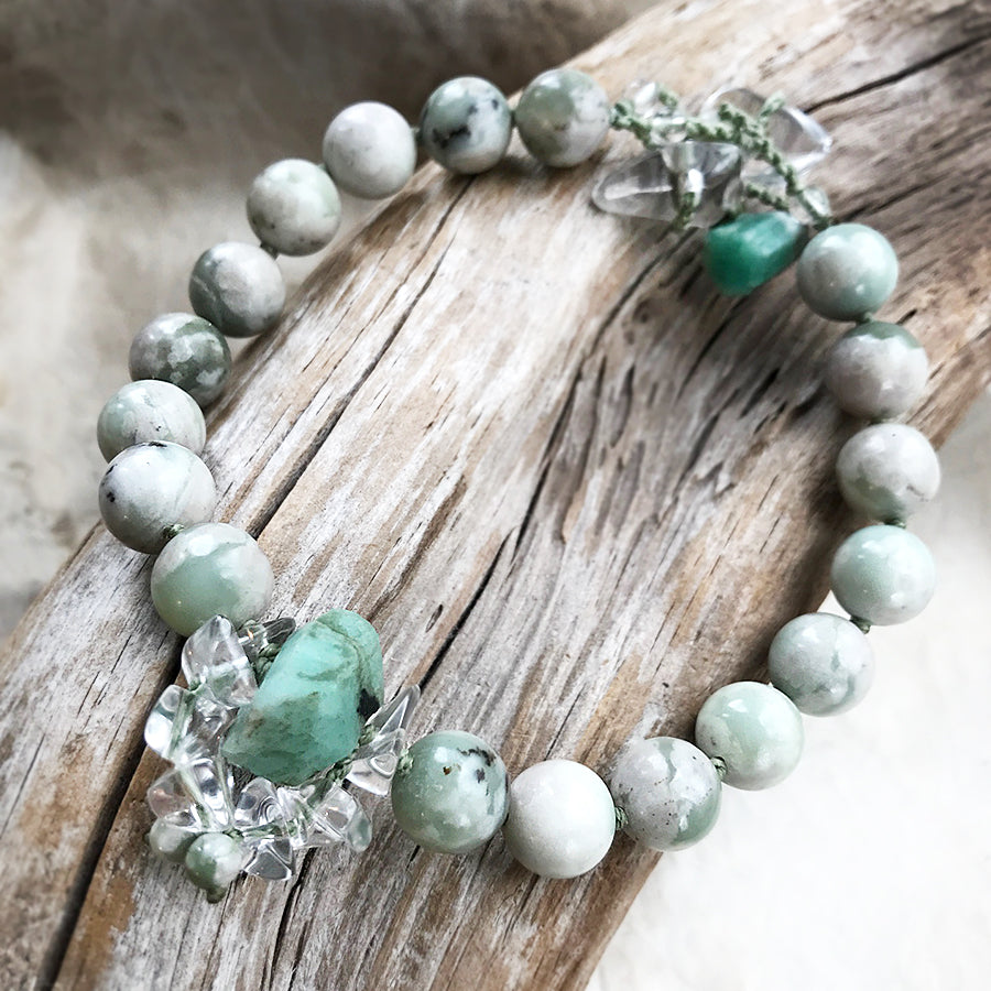 "Mala anklet with Peace Jade, Emerald & Quartz ~ for up to 9"" ankle"