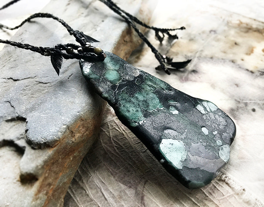 Crystal healing talisman with Black Tourmaline included Emerald