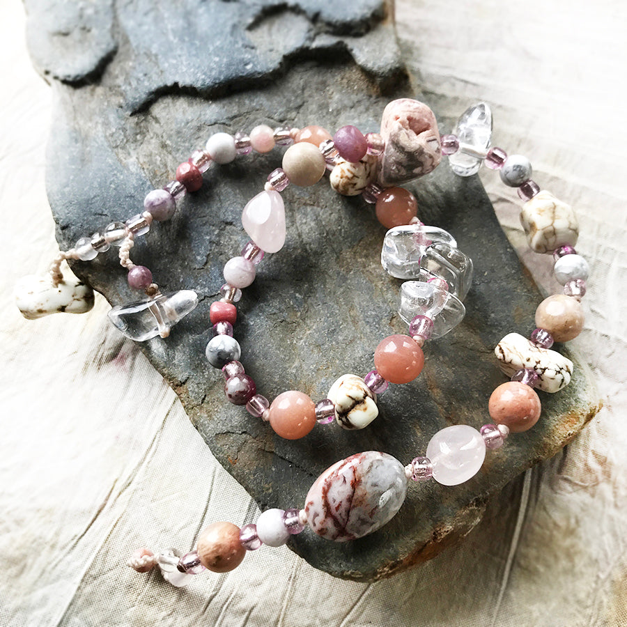 "Crystal healing double wrap bracelet in pink tones ~ for up to 6.5"" wrist size"