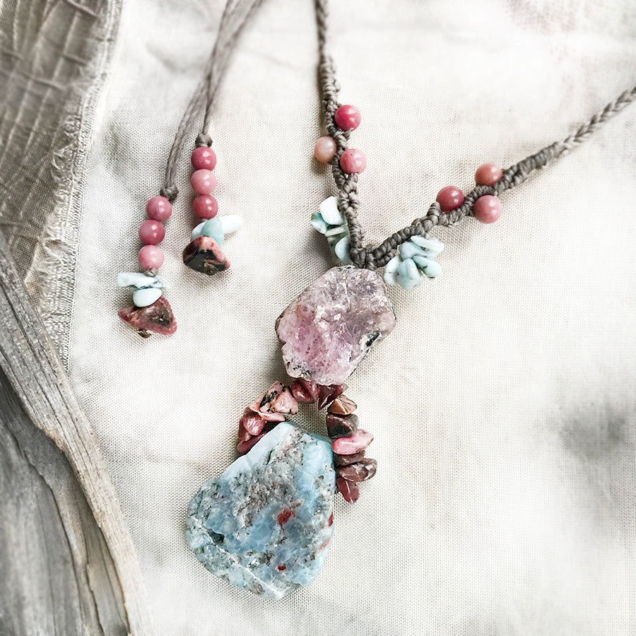 Crystal healing amulet with Larimar, Ruby & Rhodonite