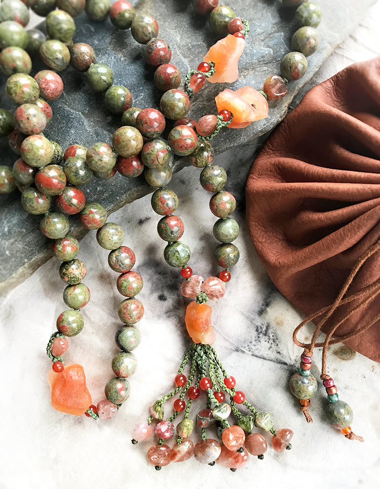 Unakite meditation mala ~ 108 bead full length