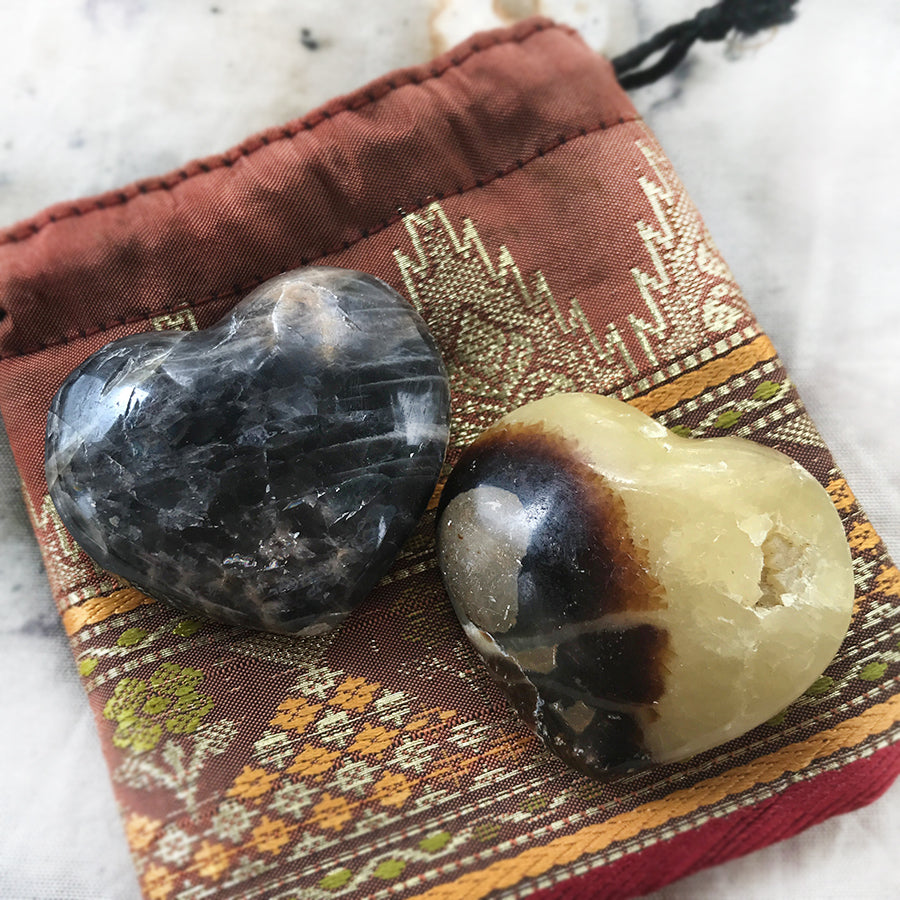 Pair of crystal hearts ~ Black Moonstone & Septarian