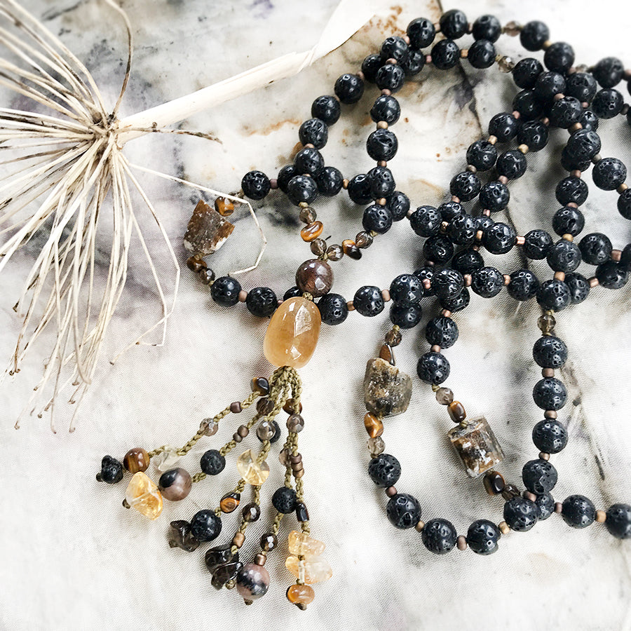 Lava Stone mala with Dravite, Citrine, Smokey Quartz, Chiastolite & Tiger Eye