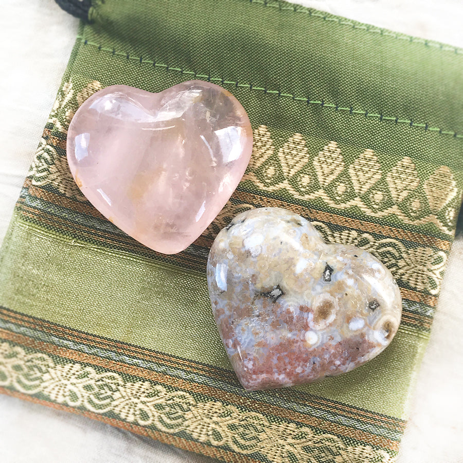 Pair of crystal hearts ~ Rose Quartz & Ocean Jasper