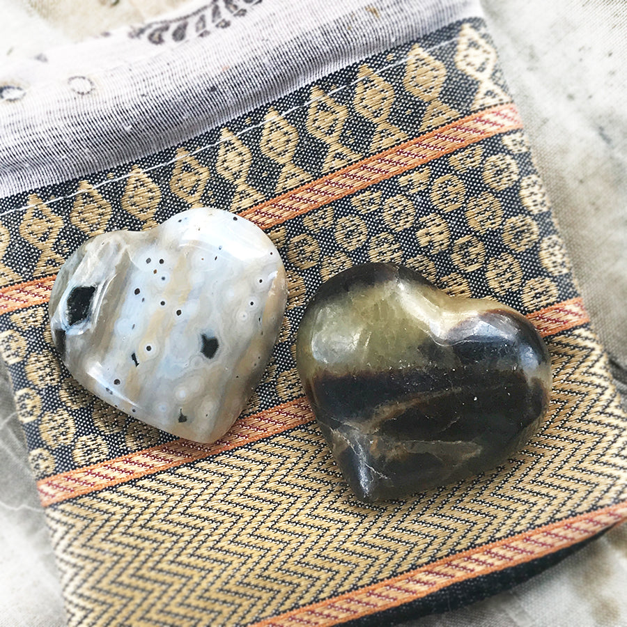 Pair of crystal hearts ~ Ocean Jasper & Septarian