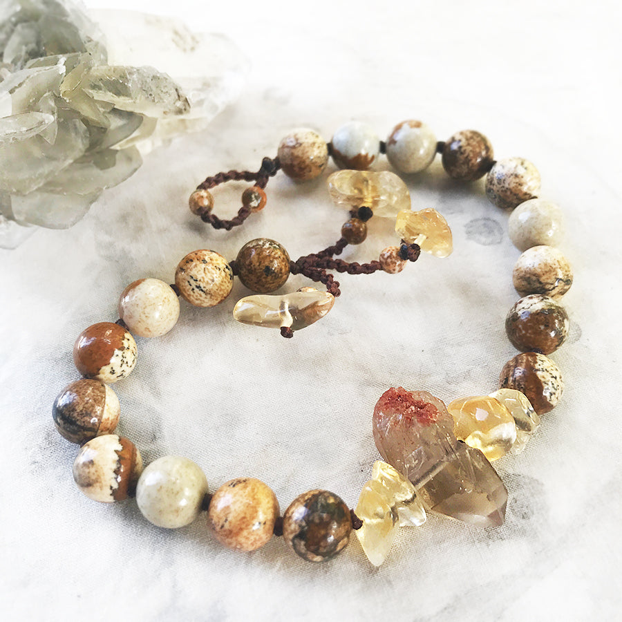 Picture Jasper mala bracelet ~ for up to 8