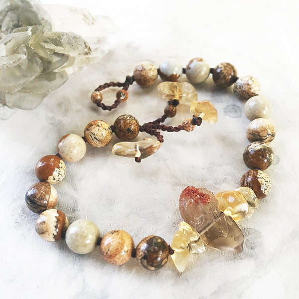 "Picture Jasper mala bracelet ~ for up to 8"" wrist"