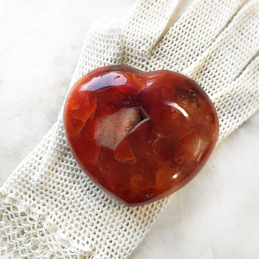 Polished crystal heart ~ Carnelian