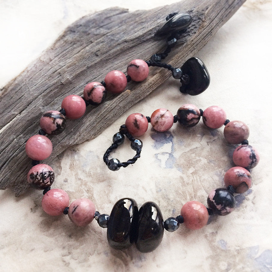 Mala bracelet with Rhodonite, Jet & Hematite ~ for up to 7.25