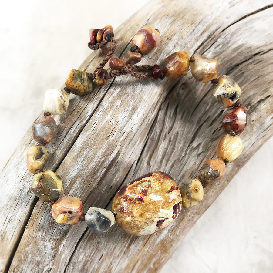 "Crystal healing bracelet with Crazy Lace Agate & Mookaite ~ for up to 6.5"" wrist"