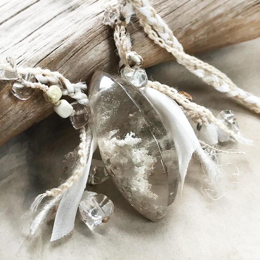 Ghost Quartz crystal healing amulet
