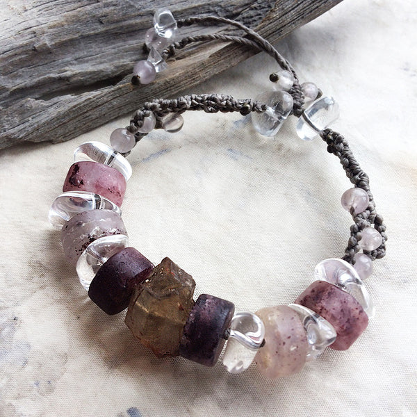 "Crystal healing bracelet with Lodolite & natural smokey Citrine ~ adjustable for wrist sizes 6"" - 8"""