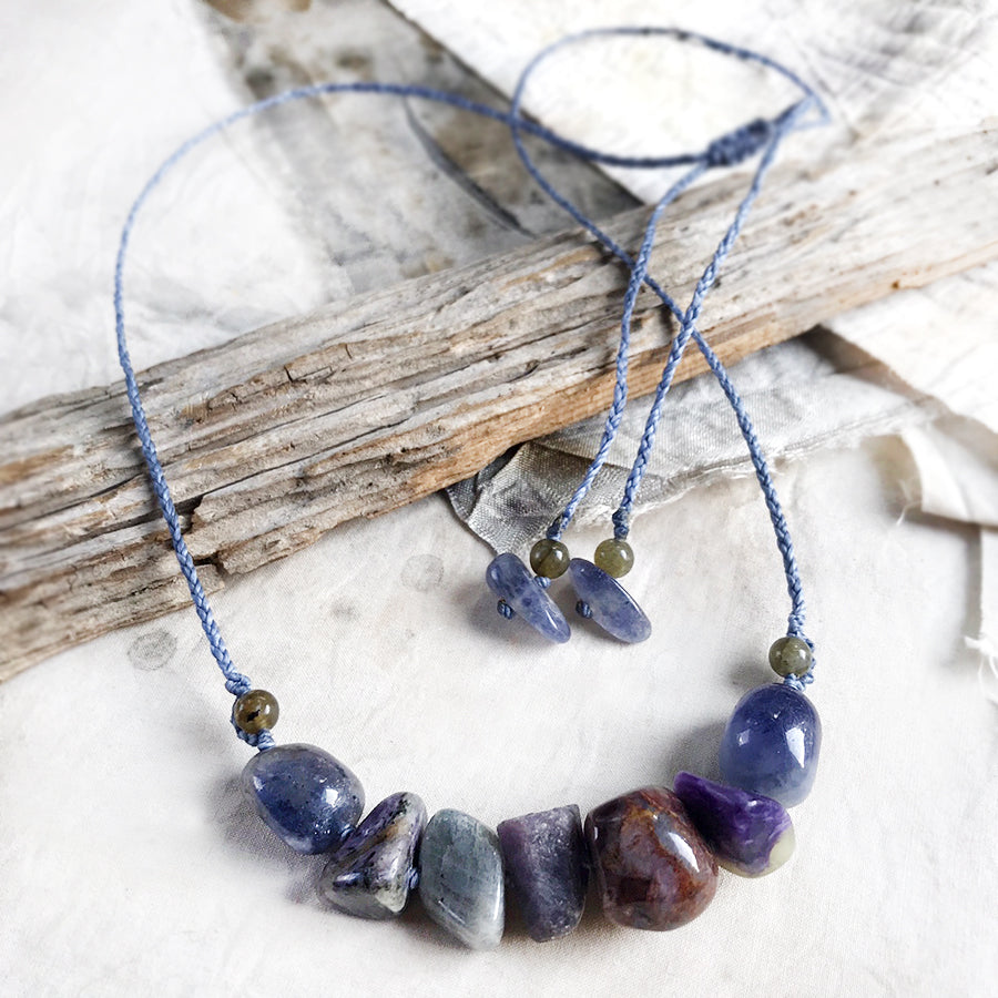 Crystal healing amulet with Iolite, Sapphire, Charoite, Labradorite & Pietersite
