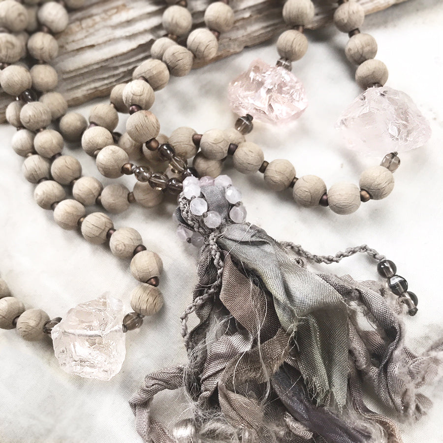 Beechwood mala with Ice Rose Quartz