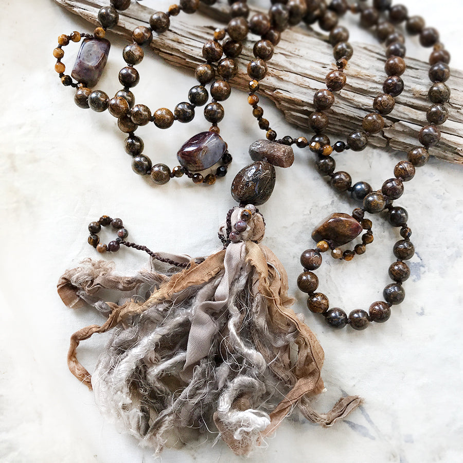 Bronzite meditation mala with Pietersite, Tiger Eye & Sapphire