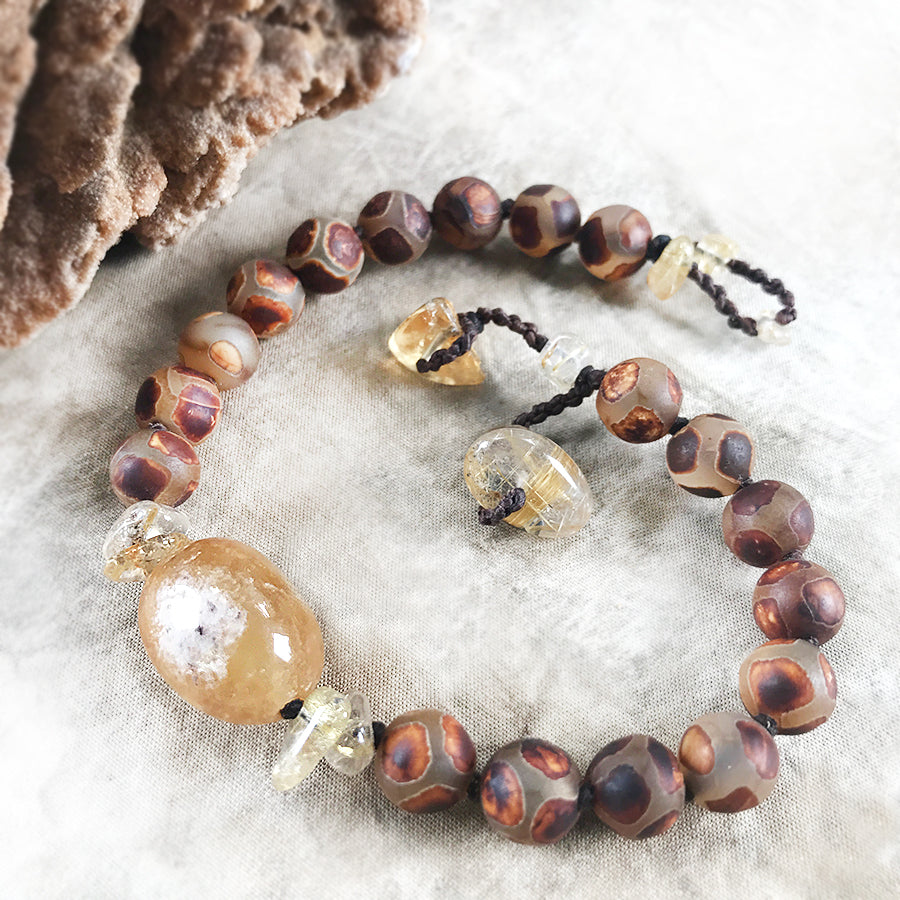 "Dzi Agate mala bracelet, Citrine & Gold Rutile Quartz ~ for up to 7"" wrist"
