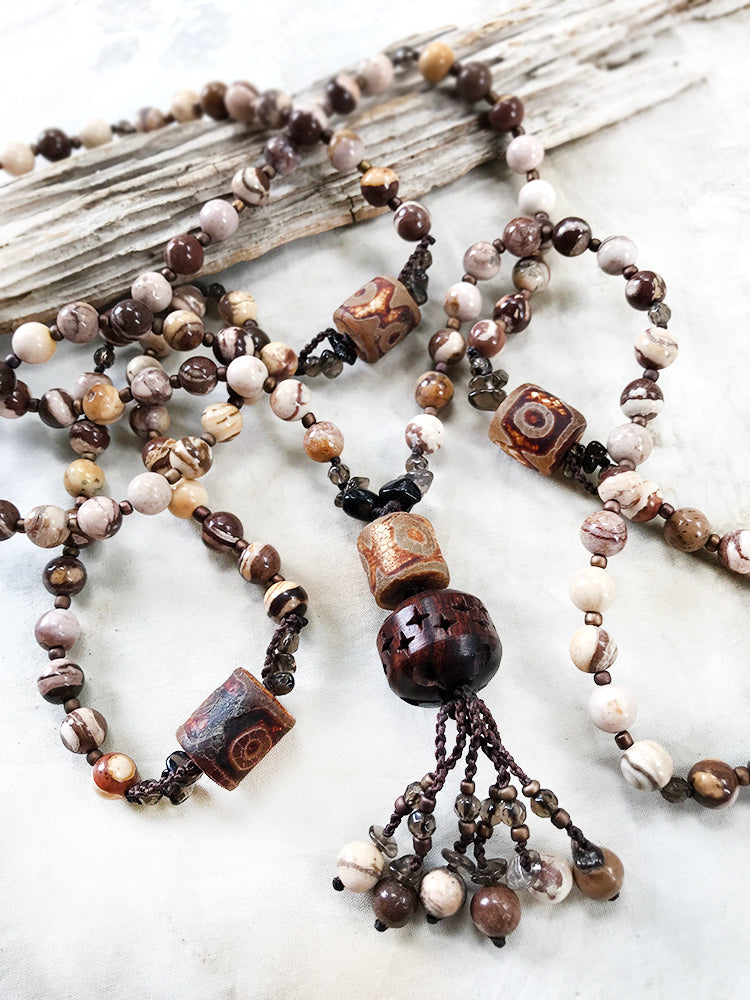 Coffee Bean Jasper mala with Dzi Agate & Smokey Quartz