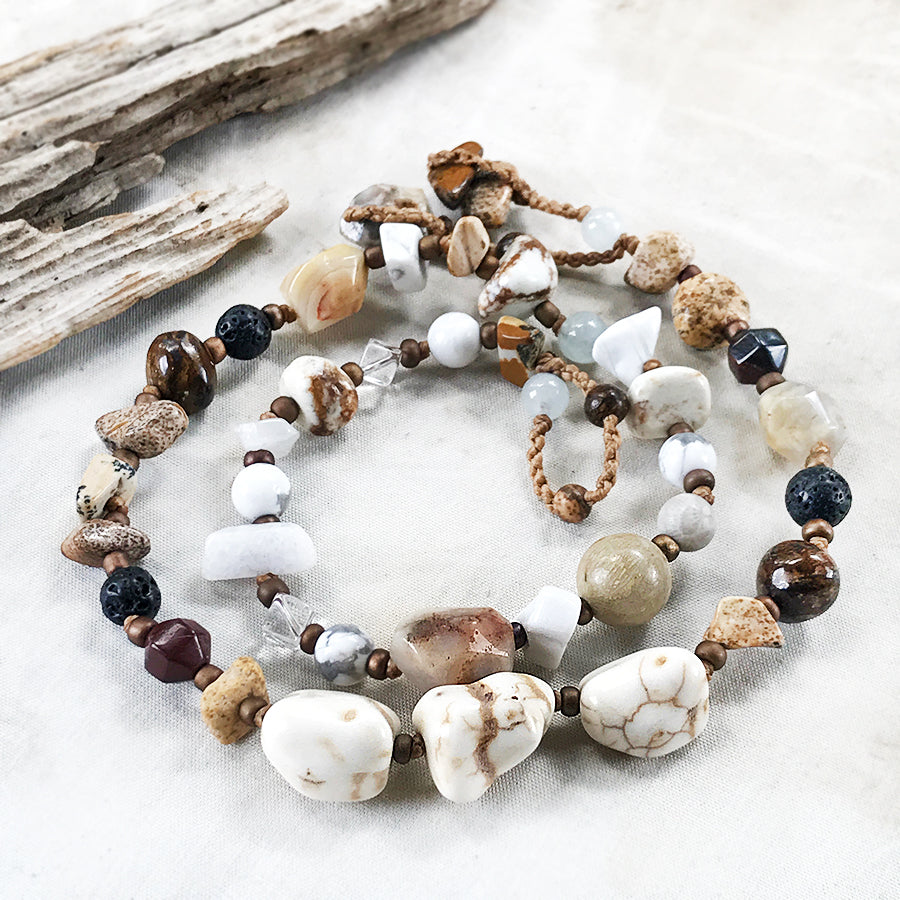 Crystal healing double wrap bracelet in tones of cream & brown ~ for up to 6.75