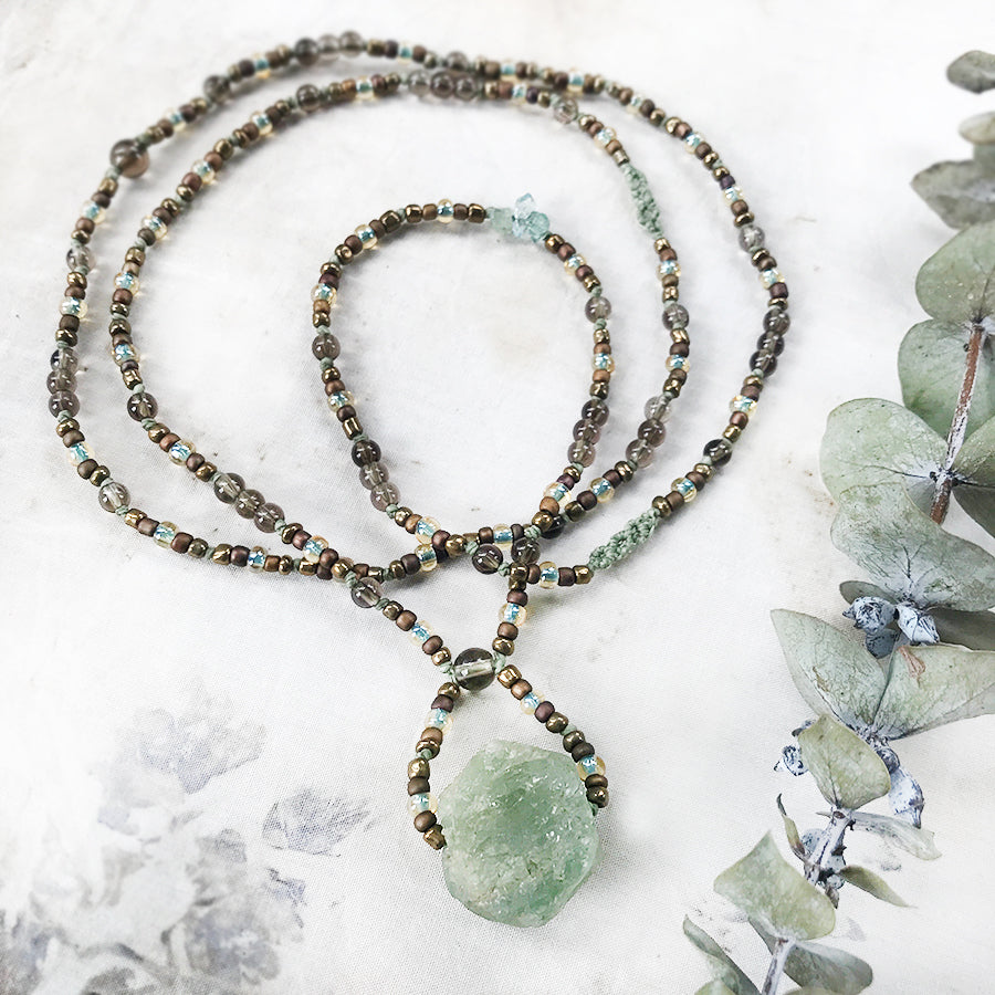 Aquamarine crystal healing necklace