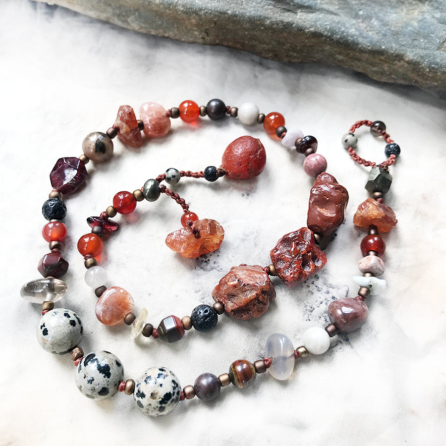 "Crystal healing double wrap bracelet in tones of red ~ for up to 6.75"" wrist"