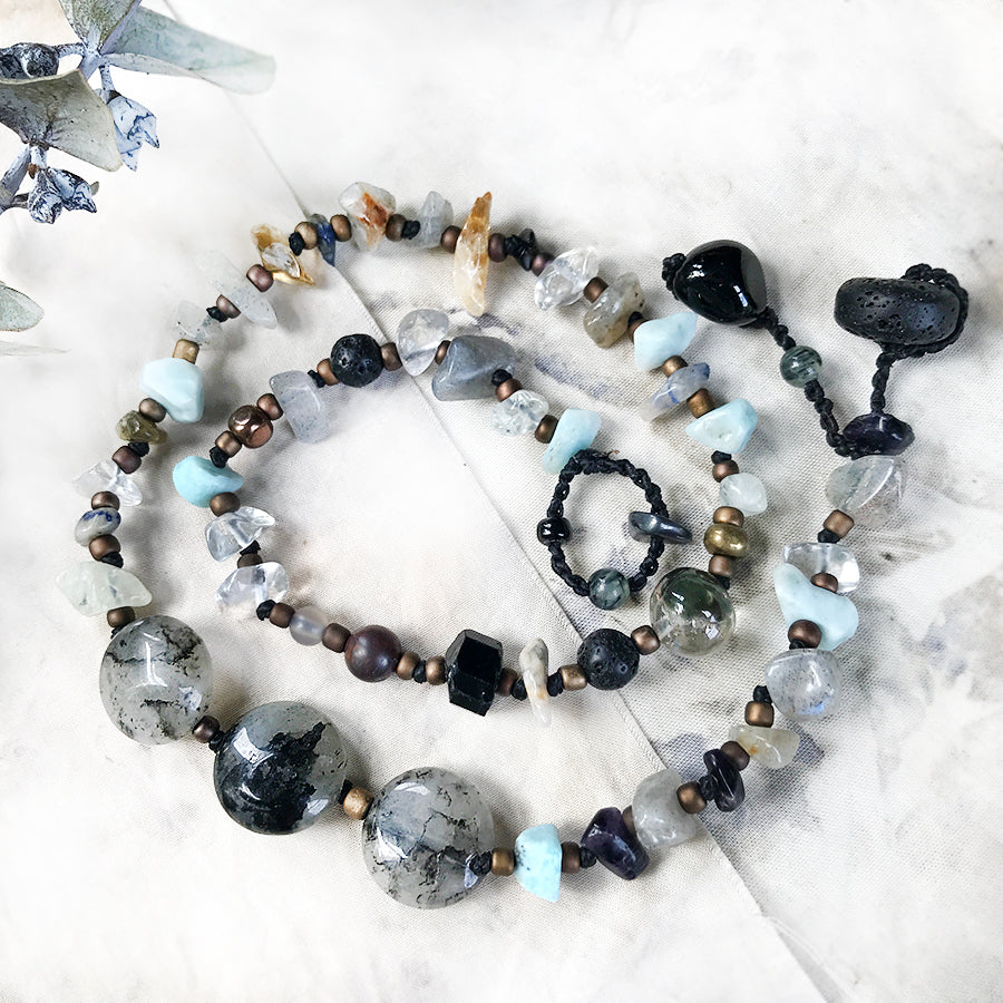 "Crystal healing double wrap bracelet in light & dark tones ~ for up to 6.5"" wrist"
