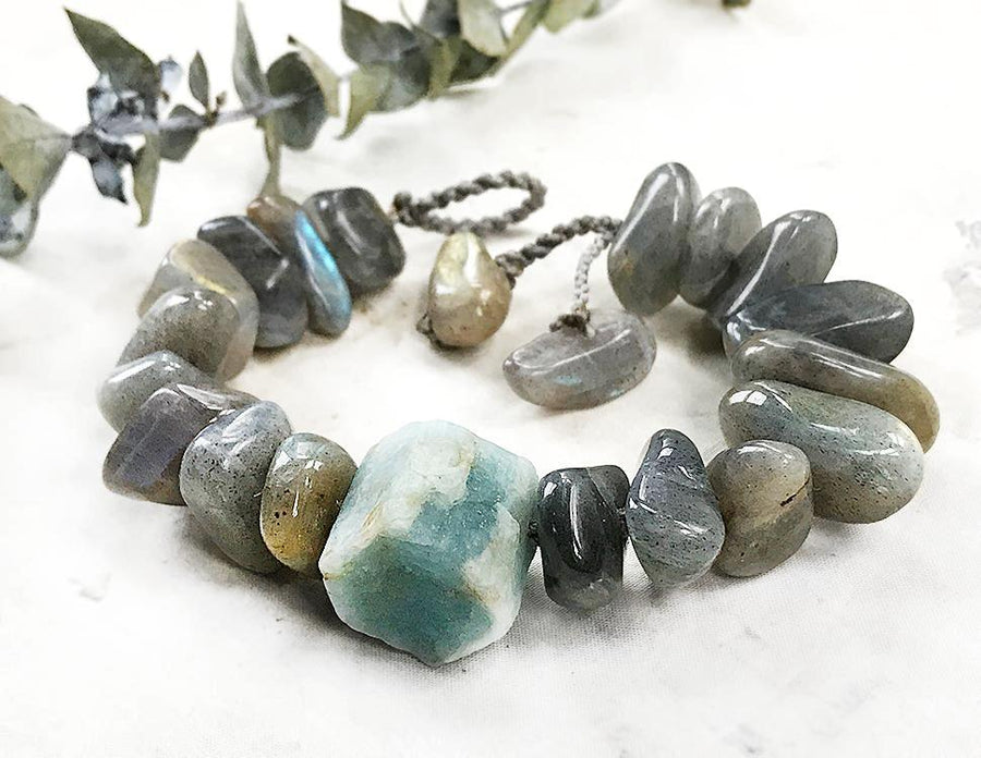 Crystal healing bracelet with Aquamarine & Labradorite ~ for up to 6.75