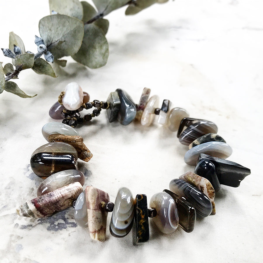 "Crystal healing bracelet with Agate, Smokey Quartz, Silver Leaf Jasper & Hematite ~ for up to 6.5"" wrist"