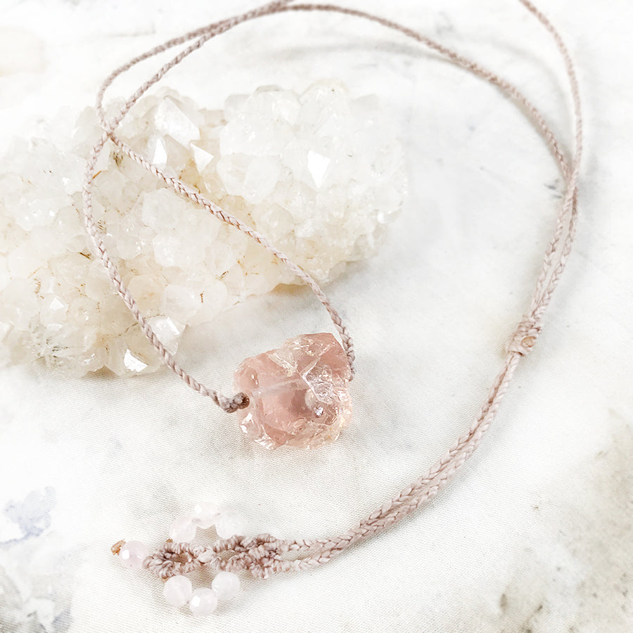 Crystal healing amulet with rough cut Ice Rose Quartz