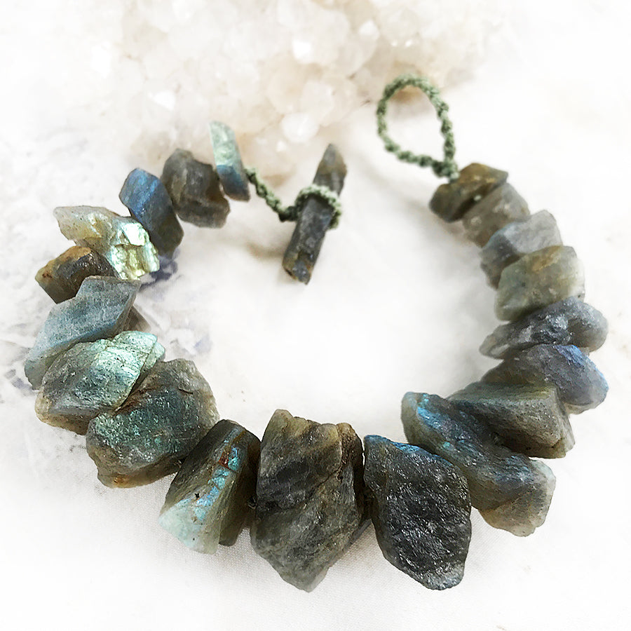 "Labradorite crystal healing bracelet ~ for up to 6.5"" wrist"