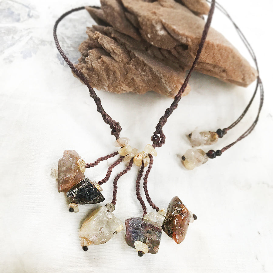'Five Stone Talisman' crystal healing necklace