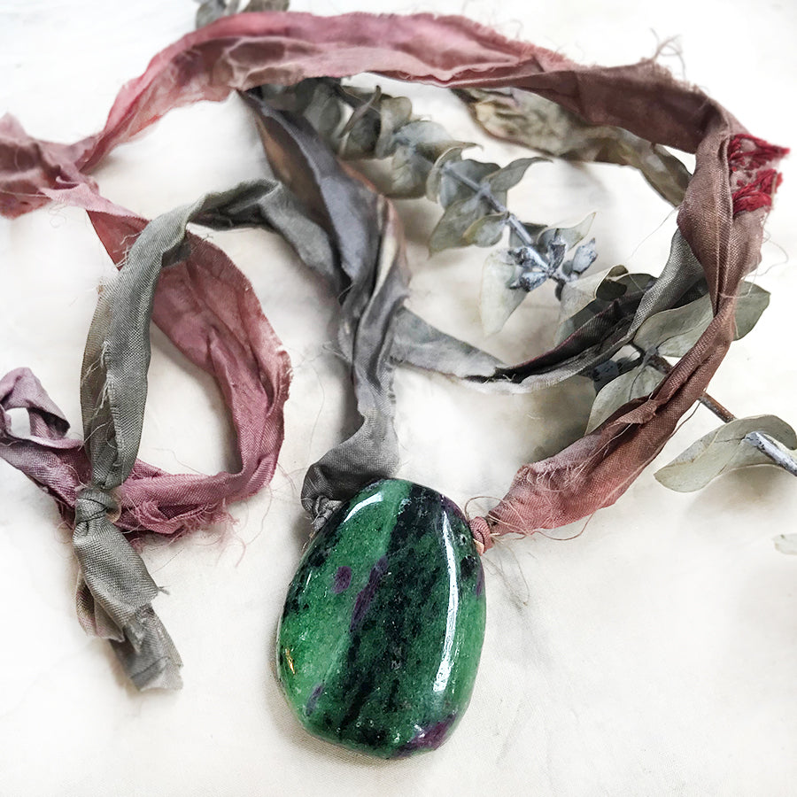 Talismanic Anyolite crystal healing necklace with silk ribbon