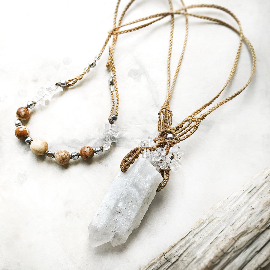 Candle Quartz twin point crystal healing amulet