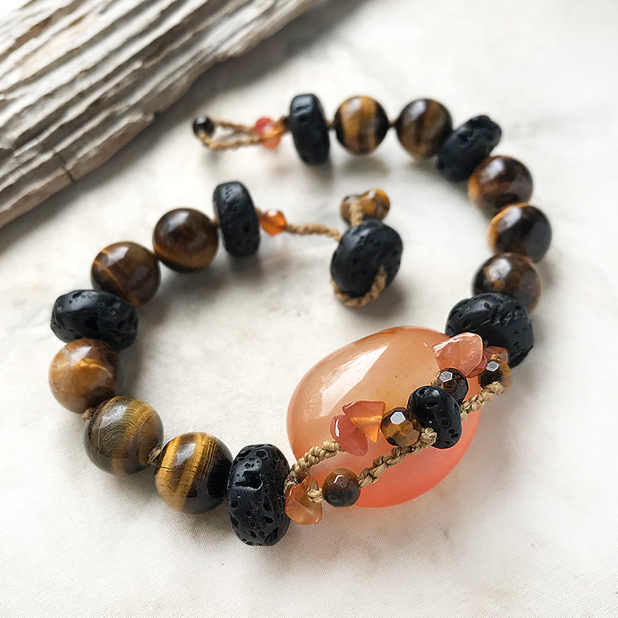 "Crystal healing bracelet with Carnelian, Tiger Eye & Lava Stone ~ for up to 7"" wrist"
