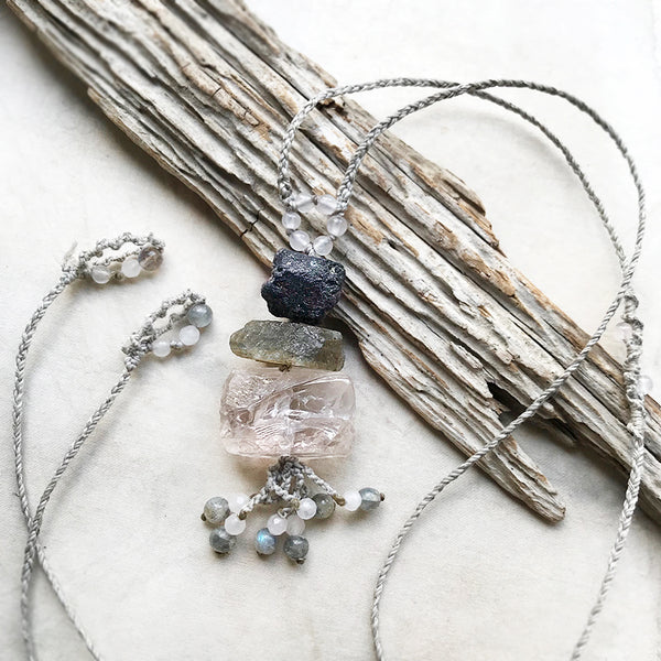 Crystal cairn necklace with Sapphire, Labradorite & Ice Rose Quartz