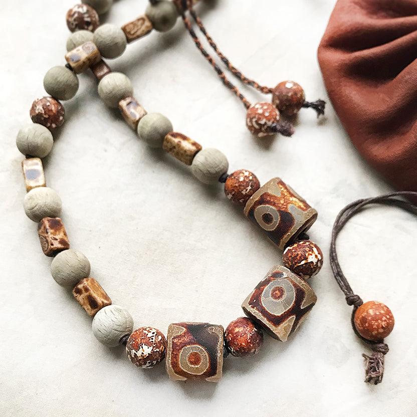 Crystal energy talisman with Agate & aged beechwood
